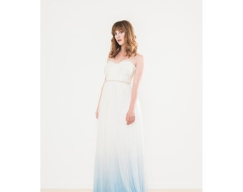 Something Blue Dip Dyed Ombré Silk Tulle Wedding Dress - Julia