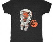 Trex Astronaut - Unisex Mens T-shirt Retro SciFi Tee Shirt Martian Dino Tyrannosaurus Rex Outerspace Space Red Mars Moon Stars NASA Tshirt