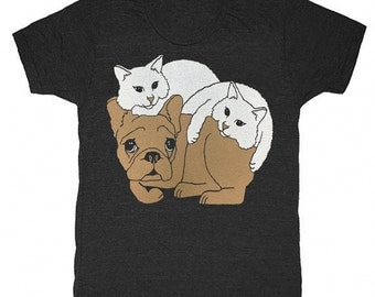 Dog and Cats - Unisex Mens T-shirt French Bulldog Cat Cute Adorable Pets Best Friends Kitten Frenchie Kitty Pet Love Funny Animals Tshirt
