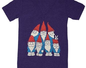 Gnomes - V-neck T-Shirt Gnome Woodland Funny Cute Humor Forest Elf Dwarf Wizard Nature FairyTale Fantasy Geek Shirt Vneck Triblend Tshirt