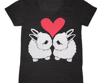 Bunny Love Womens T-Shirt - Girls Gray Tee Shirt Rabbits FairyTale Animals Nature Bunnies Rabbit Woodland Folk Retro Grey Triblend Tshirt