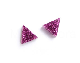 Fuchsia Glitter Earrings, Triangle Stud Earrings, Gift for Woman, Hot Pink Glitter Earrings, Sparkly Earrings, Geometric Jewelry (E239)