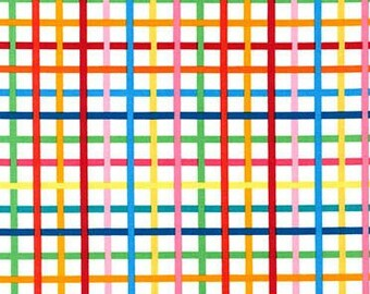 Plaid Fabric, Remix Fabric, Cotton Fabric, Rainbow fabric, Party fabric, Crosshatch in Bright- Choose your cut, Free Shipping Available