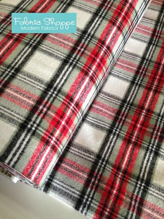 Mammoth Flannel Fabric Plaid Flannel Red Black By Fabricshoppe