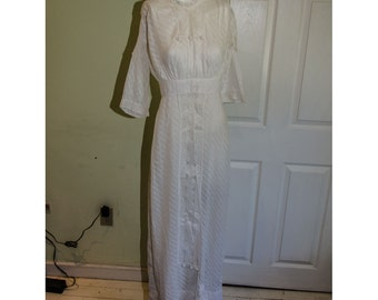 Antique Edwardian White Cotton Tea Dress with lace and Pom Poms