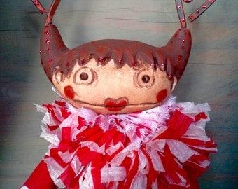 "Primitive girl ""Adelaide"" bjd prop art doll accessory xmas VALENTINES gift decor"