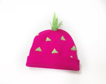 Dragonfruit Costume Hat - Hot Pink Pitaya Beanie - Fruit Lovers Gift