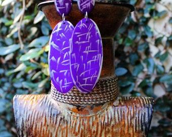 Wood Earrings, Big Wood Earrings, Painted Earrings, Post Earrings, Purple Earrings, Silver, Splash Purple Rain Wood Post Earrings