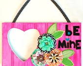 Fanciful Wood Heart Cut Out Sign for Valentines Day -- 14