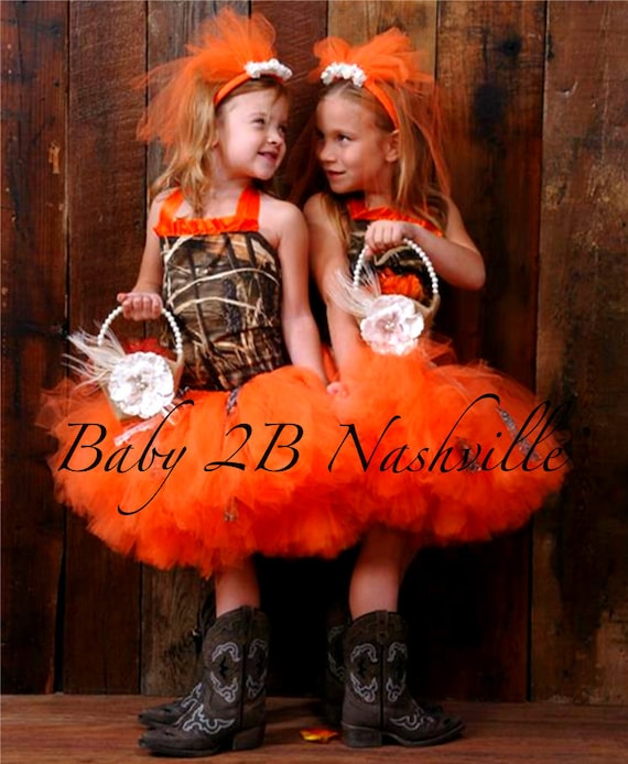 Camo Dress Orange Camo Dress Flower Girl Dress Wedding Dress