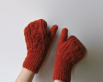 Hand Knit Terracotta Knitted Mittens, Knit Womens Fingerless Gloves, Wool Mitts, Winter Hand Warmers, Burnt Orange, Cute Winter Mittens