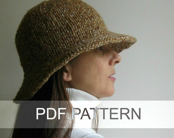 Cloche Hat PDF Knitting Pattern, Bucket Hat, Knit Hat Pattern, Instant Download Hat Pattern, PDF Pattern, Knitting Patterns, Digital Pattern