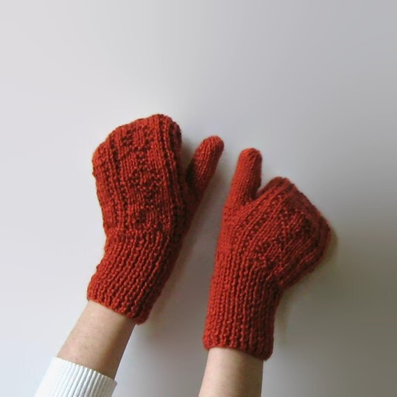 Hand Knit Terracotta Knitted Mittens, Knit Womens Fingerless Gloves, Wool Mitts, Winter Hand Warmers, Burnt Orange, Cute Winter Mittens