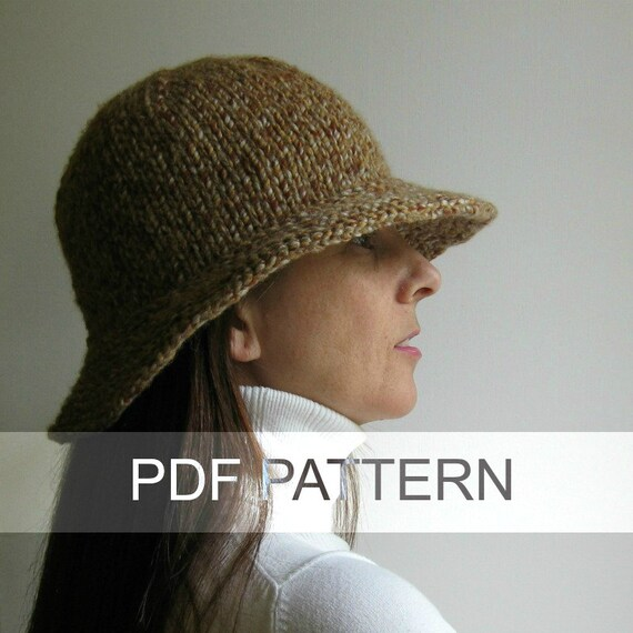 Cloche Hat Pattern Knitting : Branda Cloche Hat PDF Knitting Pattern Bucket Hat Instant