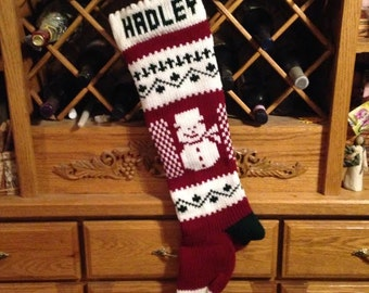Personalized Christmas Stocking, Stockings, knitted, snowman, snowmen, wedding gift, new baby gift, Moeggenborg Sugar Bush, lined, unlined