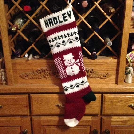 Christmas Stocking, Stockings, personalized, knitted, snowman, snowmen, wedding gift, new baby gift, Moeggenborg Sugar Bush, lined, unlined