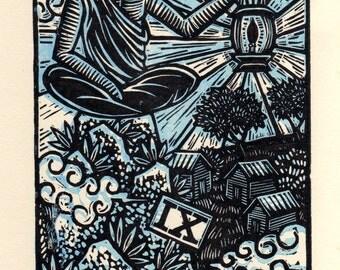 Occult Art, Tarot Card Linocut Wall Art,  Hermit Tarot Linocut Art Print, Tarot Wall Art, Occult Wall Art
