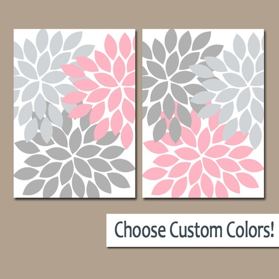 Pink gray wall art canvas or prints bathroom artwork bedroom for Pink and gray bathroom sets