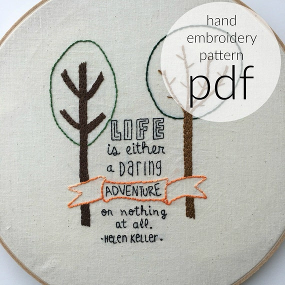 Helen keller quote hand embroidery pattern by