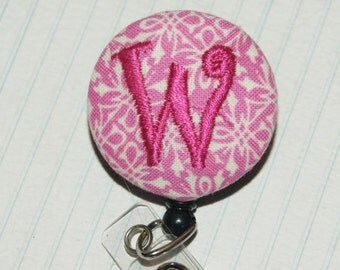 Id Reel monogrammed, U design, fabric, letter and color. (#55)