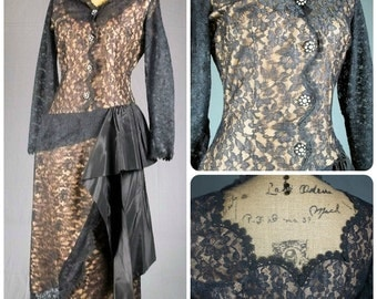50s dress vintage lilli diamond of california bombshell designer illusion lace cocktail party dress evening gown rhinestone wiggle pinup s