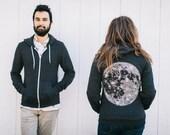Full MOON zip hoodie. unisex sweatshirt. men or women. fall fashion. moon screenprint on heather black zip hoodies. moon sweatshirt
