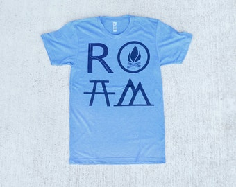 ROAM mens graphic tee, t shirt men, mens tshirts, camping print on heather blue, wanderlust shirt for him, gift for travelers