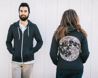 Full MOON zip hoodie. unisex sweatshirt. men or women. fall fashion. moon screenprint on heather black zip hoodies. moon sweatshirt