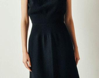 Vintage Black Wool Short Dress