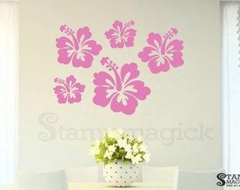 Flower Wall Decal - Hibiscus Hawaiian Vinyl Wall Decal - K310