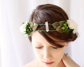 Crystal crown, Boxwood flower wreath, Boho bridal crown, Unique headpiece, Floral head wreath, White and green, Flower crown - ELEMENTAL