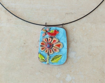 Pendant Necklace Tile Pendant Necklace Colorful Pottery Boho Necklace Tile Pendant Bird & Flower Best Friend Gift Valentine Gift for Mom