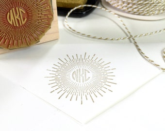Sunburst Monogram Rubber Stamp