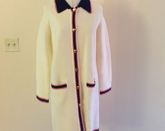 Long White Cardigan Sweater  Vintage 1960s Red and Blue Trim sz L - SALE