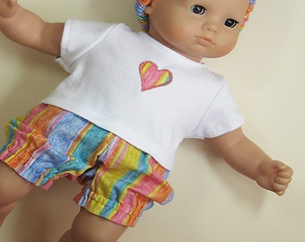 Bitty or Twin Doll Clothes -Rainbow colored Striped Bloomers with Appliqued Tee and Matching Headband