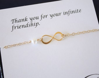 Gold Friendship Bracelet, Infinity Eternity Jewelry, Bridesmaid Gift, Bridesmaid Thank You Card, White Pearl, Gold Bracelet,