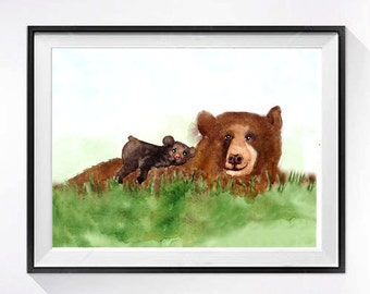Bear Art PRINT / Watercolor Painting / Childrens art / animal watercolor artwork / Grizzly bear cub / Anima bear illustration A
