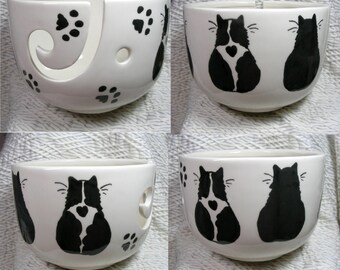 Black & White And Black Cats On Yarn Bowl Handmade Original Earthenware Clay by Grace M Smith