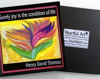 Surely JOY Thoreau Inspirational Quote Magnet Motivational Print Yoga Meditation Kitchen Home Decor Gift Heartful Art by Raphaella Vaisseau