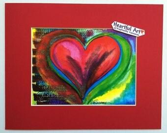 HEART for LIFE Red Valentine Love 8x10 Print Wedding Anniversary Gift Women Friends Sweetheart Home Decor Heartful Art by Raphaella Vaisseau