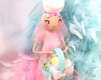 Easter tree topper easter centerpiece vintage retro inspired ooak art doll pastel pink and white toni Kelly original