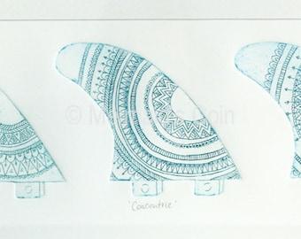 Surfboard fin art Original etching print - Mandala blue green triptych - drypoint collagraph art print - Australia beach
