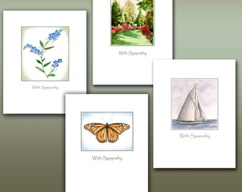 Sympathy cards 8 boxed set. watercolor sympathy card, sailboat, forget me not flower, monarch butterfly sympathy card, azalea garden, grief