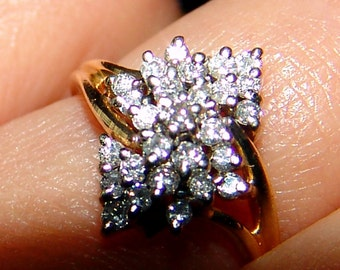 14k Gold Classic Diamond Cluster Ring One Carat