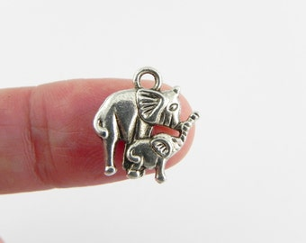 20 Mother and Baby Elephant Charms in Antiqued Silver - 15mm x 14mm - Double sided