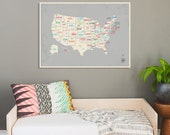 USA Wall Map Wall Art Print, 24x18, 34x24, Nursery Wall Art Decor, Gender Neutral Kids Room Decor, United States of America Map,
