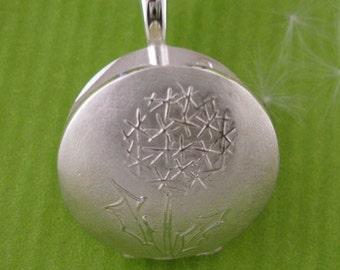 Silver Locket, Dandelion Picture Locket, Fine Keepsake, Twilight Blue Leather Cord, - DANDI Collection