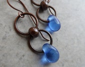 Water Droplets... Lampwork Droplets and Oxidized Brass Petite, Denim, Boho Earrings