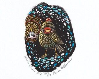 Winter Bird Nature Art Print - Original Engraving - Nature Bird Art - Bird Christmas Gift