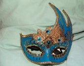 Blue Masquerade Mask, Mardi Gras Mask, New Years Eve Mask, Victorian Style Mask, Made in Italy, Halloween Costume Accessory